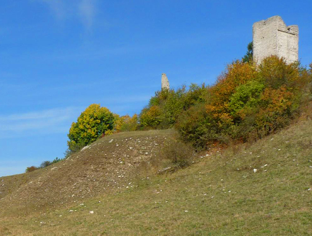 Spärlich bewachsener Hang mit Burgruine zwischen Gebüsch vor strahlend blauem Himmel.