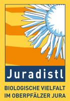 Logo zur Kennzeichnung regionaler Produkte mit der Aufschrift: Juradistl – Biologische Vielfalt im Oberpfälzer Jura.
