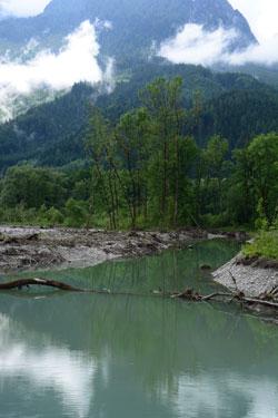 Frisch von einem starken Hochwasser durchspülter Altarm eines Flusses.