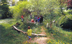 Kinder auf gehölzreichem Naturspielplatz