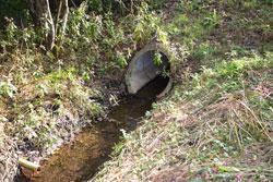 Rohrdurchlass eines Fließgewässers.
