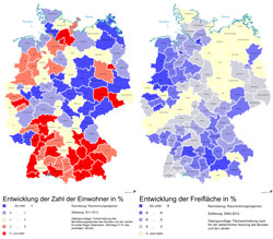 Zwei Deutschlandkarten nebeneinander; auf der einen ist der Rückgang der Freifläche und auf der anderen die Zunahme der Einwohnerzahl dargestellt.