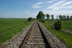 Einspurige Eisenbahnstrecke in Agrarlandschaft, mit randlich einzelnen Gehölzen.