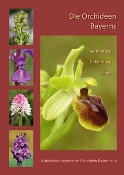 Titelbild des Buches, in der Mitte das Foto einer Ragwurz und seitlich vier kleinere Fotos von Orchideen.