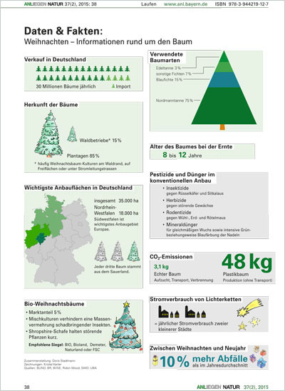 Grafische Zusammenstellung von diversen Fakten rund um den Weihnachtsbaum. Diese reichen beispielsweise von der Herkunft der Bäume, über den jährlichen Verkauf, hin zu Informationen zu Stromverbrauch von Lichterketten oder CO2-Emissionen.
