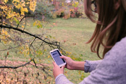 Vor einem Garten hält eine Frau ein Smartphone in der Hand auf der man die Startseite von Map of Life sehen kann.