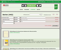 Bildschirmkopie einer Seite der ZOBODAT mit ein paar Zeitschriften-Teasern.