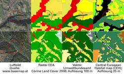 Zwei Bilderreihen zeigen die unterschiedlichen Klassifizierungen von Landschaftsausschnitten mit CORINE und der Central European Habitat map.