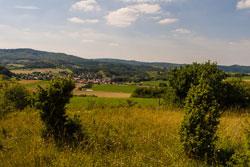 Blick von einem durch einige Büsche strukturierten Kalk-Magerrasen im Vordergrund in eine leicht hügelige Kulturlandschaft mit einer ein Dorf umgebenden Kulturlandschaft und Wald im Hintergrund.