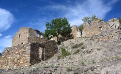 Aus Bruchsteinen gemauerte Häuserreste eines verlassenen Dorfes auf kahlem Boden mit einem einzigen grünen Baum in der Mitte.