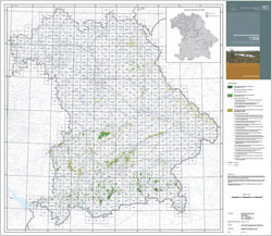 Übersicht der Bayernkarte mit grün eingezeichneten Mooren.