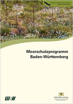 Titelbild der Broschüre mit einem Bild eines Wollgras-Moores mit Kiefern.