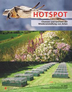 Titelbild einer Ausgabe der Zeitschrift mit drei Querformat-Bildern (Bartgeier, Blumenwiese, Versuchsanlage).