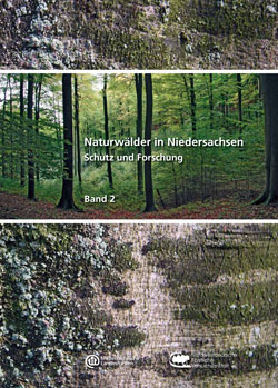Titelbild mit Nahaufnahme einer Baumrinde, dazwischen das Bild eines Naturwaldes.