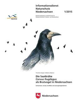 """Titelbild der Informationsbroschüre """"Die Saatkrähe Corvus frugilegus als Brutvogel in Niedersachsen"""" mit Zeichnung einer Saatkrähe im Profil."""
