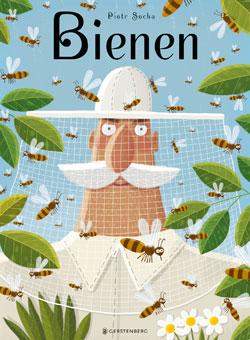 Gemaltes Titelbild des Buches, auf dem ein weiß gekleideter Mann mit Schnauzbart zu sehen ist, der einen Bienenschutz auf dem Kopf trägt und inmitten von schwirrenden Bienen steht.