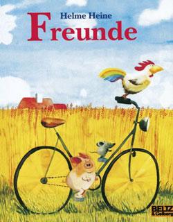 Gemaltes Titelbild des Buches, auf dem ein Fahrrad zu sehen ist, auf dem ein Hahn, ein Schwein und eine Maus sitzen und gemeinsam durch die Gegend fahren.