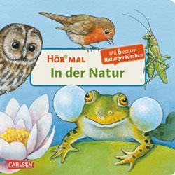 Gemaltes Titelbild vom Buch, auf dem verschiedene Tiere in der Natur sehen kann.