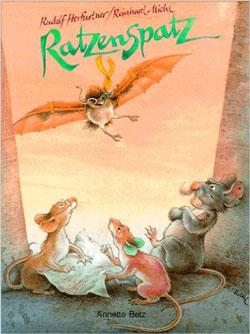 Gemaltes Titelbild des Buches, auf dem drei Ratten über einer Landkarte und ein Spatz mit Flugbrille im Landeanflug zu sehen sind.