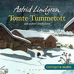 Gemaltes Titelbild des Buches Tomte Tummetott, auf dem ein nächtlich verschneiter Hof und ein kleiner Kobold zu sehen ist.