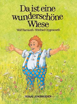 Gemaltes Titelbild des Buches, auf dem ein Mann in gepunkteter Latzhose zu sehen ist, der mitten in einer Wiese steht und die Arme ausbreitet.