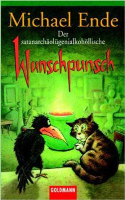 Gemaltes Titelbild des Buches, auf dem eine Katze und ein Rabe vor einem dampfendem Kessel sitzen, in unheimliches, grünes Licht getaucht.