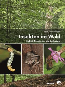 : Titelbild mit drei kleinen Fotos von Insekten auf einem Waldbild als Hintergrund.
