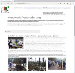 Bildschirmdruck der Website des Netzwerks Renaturierung.