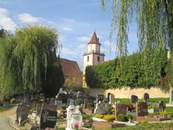 Ein Friedhof mit mehreren Grabsteinen im Vordergrund und einem Kirchturm im Hintergrund. Links hinter den Grabsteinen ist eine Trauerweide und rechts eine Mauer mit einer Hecke zu sehen.