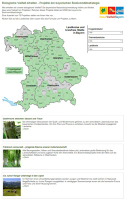 Bildschirmdruck der Übersichtsseite der biologischen Vielfalt mit großer Karte und Auswahlmöglichkeit rechts.