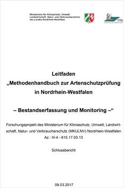 """Titelbild des Leitfadens """"Methodenhandbuch zur Artenschutzprüfung in Nordrhein-Westfalen""""."""