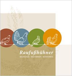 Auf dem Titelbild der Broschüre sind schematisch die verschiedenen Raufußhuhn-Arten abgebildet.