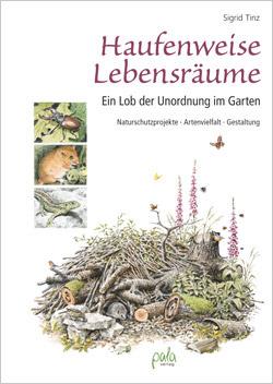 Titelbild mit gezeichnetem Haufen aus Totholz, Ästen und Gestrüpp. Auf der Seite sind Fotos von kleinen Tieren abgebildet, die diesen Haufen als Lebensraum nutzen.