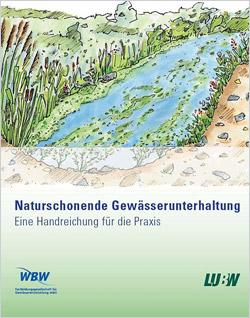 Schemazeichnung eines naturnahen Gewässers mit Unterwasservegetation und bewachsenen Böschungen.