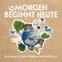Logo des Podcasts: eine Weltkugel mit Bäumen, Tieren und Häusern.