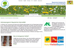 Übersichtsseite des Bereichs Biologische Vielfalt im ANL-Webangebot.