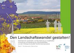 """Titelbild der Broschüre """"Den Landschaftswandel gestalten!"""" (Kollage einer Energielandschaft)"""