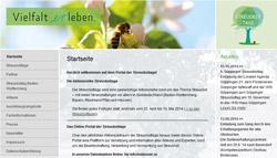 Internetseite der Streuobsttage mit Foto einer Biene in der Titelleiste.